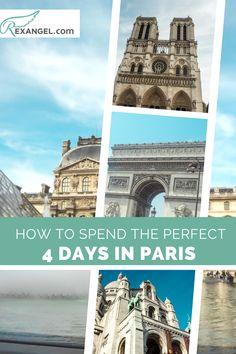 Here is how to spend 4 days in Paris. Paris Travel Guide / Paris Itinerarly / Paris in 4 Days / Paris Trip Planning Paris Travel Guide, Europe Travel Tips, Travel Guides, Travel Destinations, Best Places To Travel, Best Cities, Cool Places To Visit, 4 Days In Paris, Paris Paris