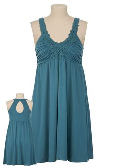 Colonial Blue, Lace Front Keyhole-Back Knit Dress/Maurices, $29