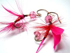 Fishing Lure Earrings  Pink and Red by Raynecloud on Etsy