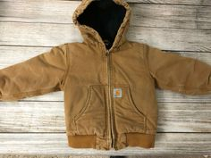 188c510c8 Carhartt Lined Hooded Coat Boys XXS size 4 5 Brown Jacket Full Zip Child  Youth #