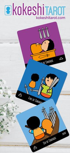 The #Kokeshi #Tarot is a cute deck, full of #kawaii characters Four of Swords / Five of Swords / Six of Swords