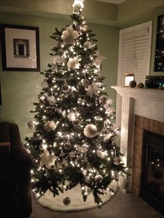 My White and silver Christmas tree                                                                                                                                                                                 More