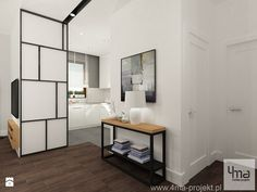 Projekt salonu z kuchnią i dwóch łazienek. Powierzchnia 52,1 m2. - Salon, styl industrialny - zdjęcie od 4ma projekt