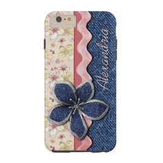 Retro Chic Cute Denim Jeans Pastel Floral Pattern Tough iPhone 6 Plus... (69 AUD) ❤ liked on Polyvore featuring accessories and tech accessories