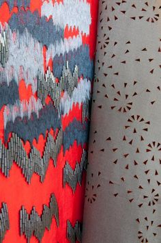 ||TEXTILES|| design by Abigail Gardiner - laser cut - embroidery - brights and neutrals - beading