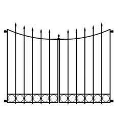 Hampton Bay Beaumont 3.75 ft. x 3.33 ft. Black Steel Decorative Fence Gate-860169 - The Home Depot