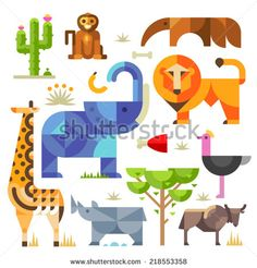 Geometric flat Africa animals and plants, including elephant, lion, monkey, giraffe, rhino, ostrich, anteater, hyena, cactus - stock vector