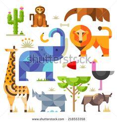 Geometric flat Africa animals and plants, including elephant, lion, monkey, giraffe, rhino, ostrich, anteater, hyena, cactus - stock vector
