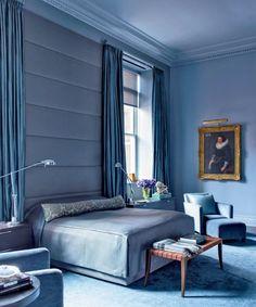 Tapetenmuster blau schlafzimmer  Exklusive Luxus Tapete Blumen Motiv weiß auf blau auf Seide ...