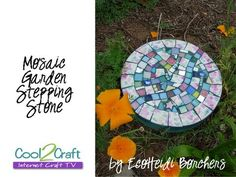 Mosaic Stepping Stone ... Recycle old concrete stones & broken tiles, dishes & pottery!