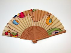 Handpainted Silk hand fan-Wedding hand fan- Silk hand fan-Bridesmaids- Spanish hand fan - Tan hand fan by gilbea on Etsy