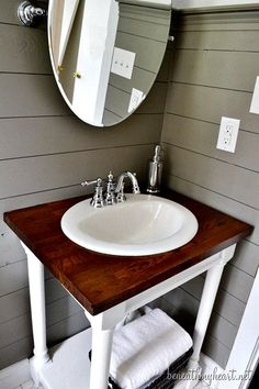 Bathroom vanity cottage modern chic glam - easy DIY project using butcher block and drop in sink