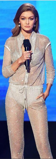 Who made Gigi Hadid's gray crystal jumpsuit?