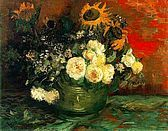 Bowl with Sunflowers, Roses and Other Flowers - Vincent Van Gogh