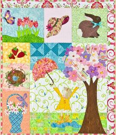 """Spring is in the Air"" quilt pattern by Lizzie B Cre8ive. Bunny, flowers, robin's nest, and other signs of spring."