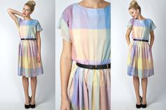 Vintage 80s Retro Slouchy Midi Dress Dolly by thekissingtree