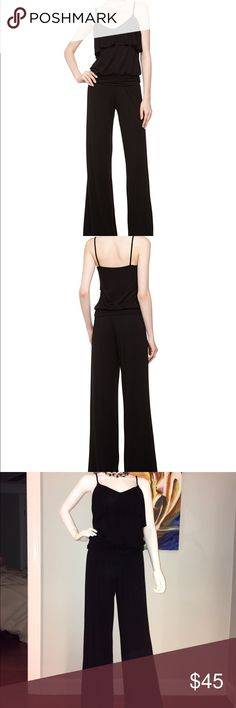 Tart - Paula Wide-leg Jumpsuit Tart jersey jumpsuit, wide V neckline with draped ruffle. Very flattering wide ruched waist, which slims the waist and shapes the blouson bodice. Wide legs skim from hip - giving you a long, lean look. Size M Rayon/spandex, machine wash. Tart Pants Jumpsuits & Rompers