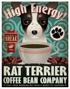 Rat Terrier Coffee Bean Company Original Art Print - Custom Dog Breed Art…