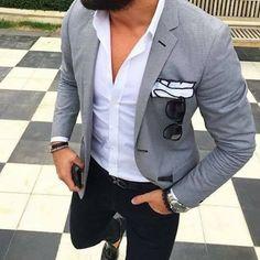 Mens fashion blazer, stylish men, fashion mode, mens smart casual blazer, g Mens Fashion Blazer, Suit Fashion, Fashion Outfits, Fashion Clothes, Fashion Accessories, Fashion Tips, Fashion Trends, Smart Casual Menswear, Men Casual
