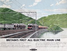 It shows the famous Woodhead Route with 27000 on a passenger train passing 26051 on a freight train on the Manchester-Sheffield main line. Train Posters, Railway Posters, British Travel, Rail Transport, Train Art, Train Pictures, Electric Train, Worldwide Travel, Vintage Travel Posters