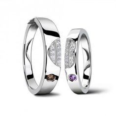 Real Diamonds Heart design Couples His and Her Matching Ring Set