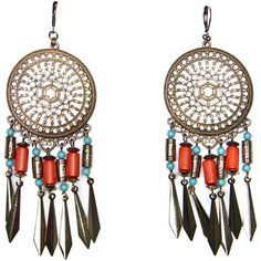 Touch - Long Ethnic Earrings ❤ liked on Polyvore