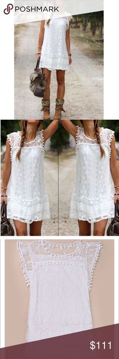 Boho Sleeveless White Lace Mini Dress NWT This cute and flirty white Bohemian style dress is so cute for Spring, Summer, or your vacation.   Beautiful quality and soft, the fun pom poms are the perfect accent to this gorgeous lace.  Mini length hits above the knee.  32 inches from shoulder to hem. Size S (6).  Brand new.  True to size.  You will receive it quickly with manufacturer tags and original packaging. Dresses Mini