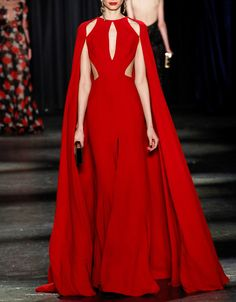 Gorgeous red gown with cape sleeves and cut outs - Naeem Khan Fall 2016. New York Fashion Week.