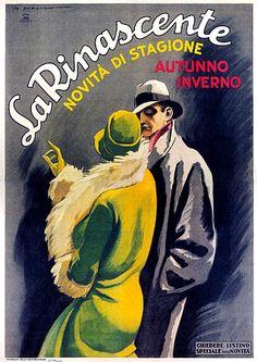 La Rinascente Dudovich Vintage Italian Fashion 1920s Posters Prints - Artist: Marcello Dudovich c, 1926