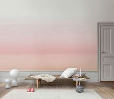 Snygg tapet: Skymning, Sandberg tyg & tapet. Watercolour wallpaper inspired by winter morning walks by Scandinavian designers Sissa Sundling and Karolina Kroon.
