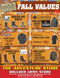 Boulder Army Store – Fall Values