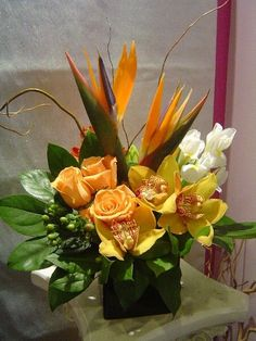 tropical reception wedding flowers, wedding decor, wedding flower centerpiece…