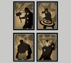 Avengers Poster Set Thor, Captain America, The Incredible Hulk, Iron Man - Movie poster, Minimalist print, Digital Art Print