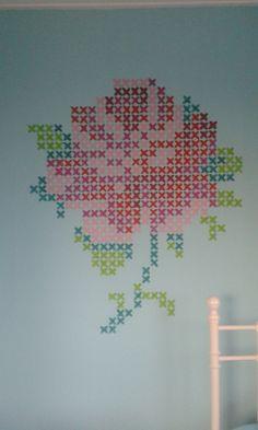 de Eline Pellinkhof roos op het behang geverfd.