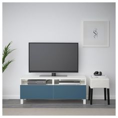 IKEA - BESTÅ TV unit with drawers white, Valviken dark blue