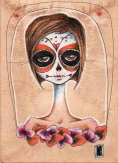 i would love to have my family as sugar skull people?!? or just one like this for me?  lol