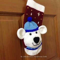 Polar Bear Christmas Stocking Crochet Pattern