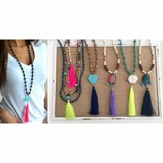 """Love Love this Collection of Long Long Tassels and Multi layer necklaces. Perfect for the season and to pop out of any outfit. They are High quality with high quality mixed materials - Wood, Glass, Thread, Acrylic. The Pearl, Black, Wood and Turquoise are 36"""" with approx 1.75"""" stone and 4"""" Tassel. The Wood/Black, Wood/Teal and Wood/Pink are 32"""" with approx 1.75"""" stone and 4"""" Tassel. The Multi layer Tassels are 18""""- 36"""" Tassels are 3""""-3.5"""" and Coming with Matching Earrings The Multi layer…"""