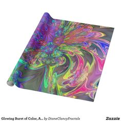 Glowing Burst of Color, Abstract Teal Violet Deva Fractal Wrapping Paper #sold #DianeClancy
