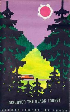 DP Vintage Posters - Discover the Black Forest German Federal Railroad Original Vintage German Travel Poster