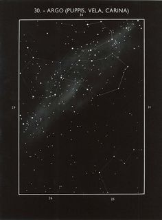 This is an astronomy print of Argo Navis (or Argo), a large constellation in the…