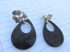1.75 .925 Sterling Silver Leaf & Onyx by PureJewelryElegance