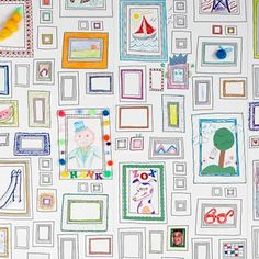 """Love this """"Frames"""" wallpaper from Land of Nod.  Kids can fill in the blanks frames with whatever they want to draw."""