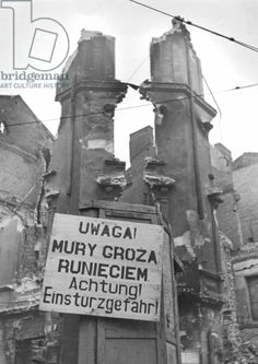 Ruins in Warsaw after the uprising, 1944 (b/w photo)