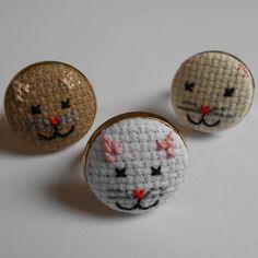 cross-stitch kitten ring by magasin | notonthehighstreet.com
