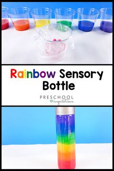 Make a rainbow discovery bottle out of two simple ingredients -- hair gel and liquid watercolor! This sensory bottle is perfect for a rainbow theme. Weather Activities Preschool, Rainbow Activities, Science Experiments For Preschoolers, Preschool Themes, Preschool Science, Sensory Activities, Preschool Activities, Science Classroom, Preschool Learning