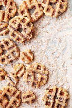 Vanilla Cinnamon Sugar Churro Waffle Doughnuts taste just like churros but are made in a waffle iron instead of fried! They're super tasty and easy to make!