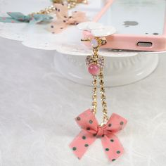 Bow Decor with Crystal Chain Anti-dust Plug Earphone Cap iPhone Accessories