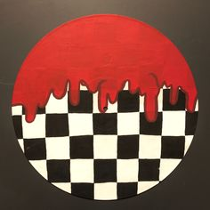 Red Drip Black and White Checkered Painted Record Wall Art Cute Canvas Paintings, Small Canvas Art, Mini Canvas Art, Easy Canvas Art, Hippie Painting, Trippy Painting, Record Wall Art, Cd Wall Art, Cd Art
