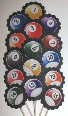 Billiards/ Pool Ball Cupcake Toppers/Party Picks (15Pc Set) Item #970